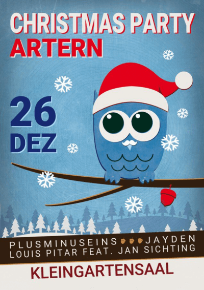 Plakat für die Park House Christmas Party 2015 in Artern